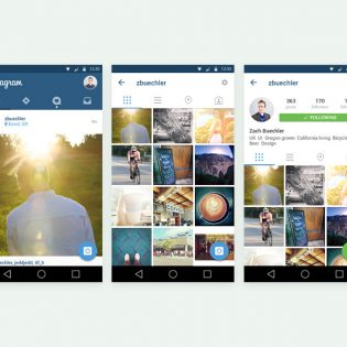 Instagram Mobile App UI Template Free PSD