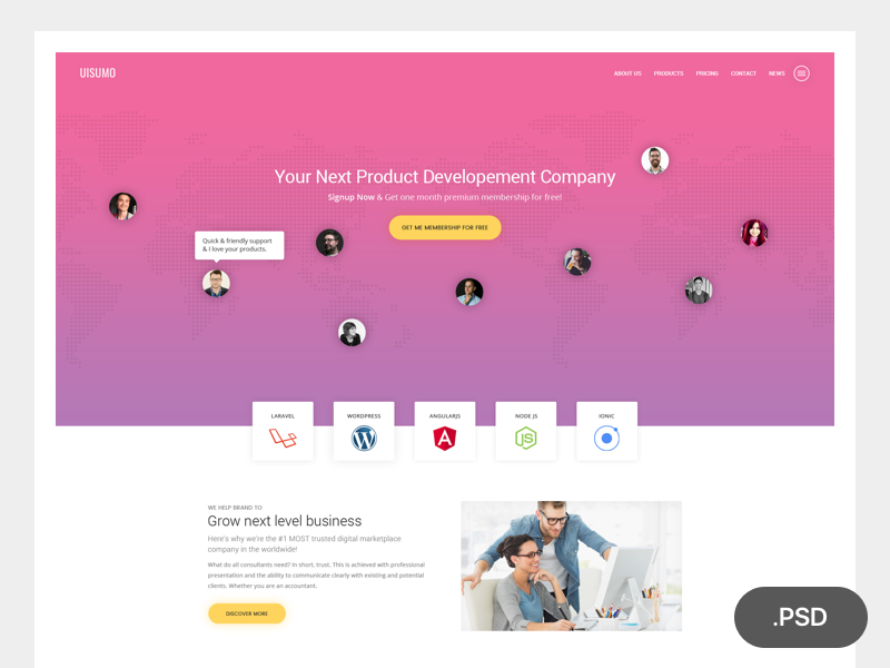 Single Page Creative Website Template PSD