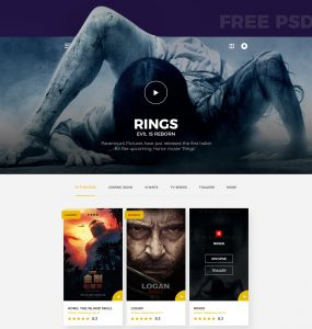 Movies Website Template Free PSD