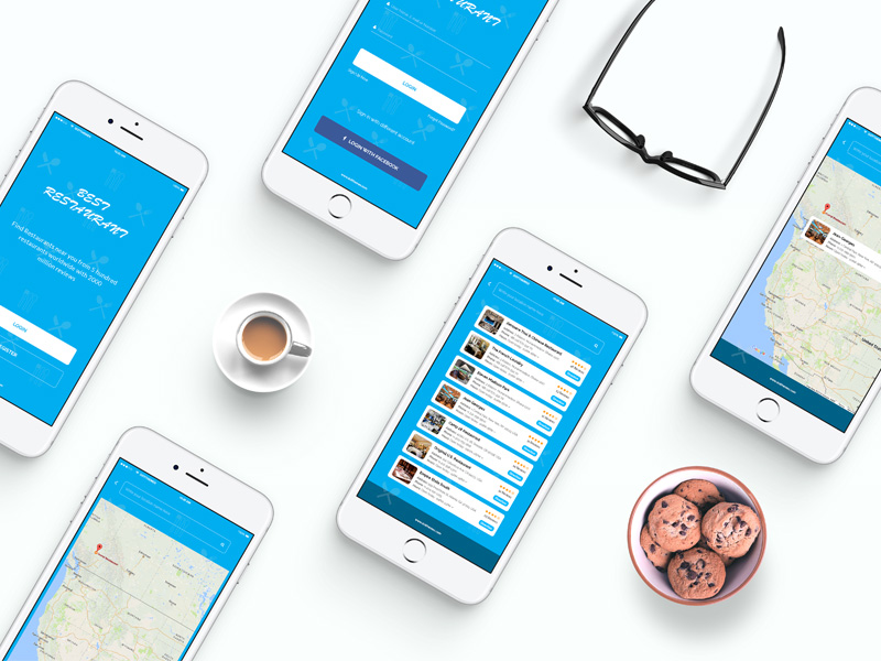 Restaurant Finder App Free PSD