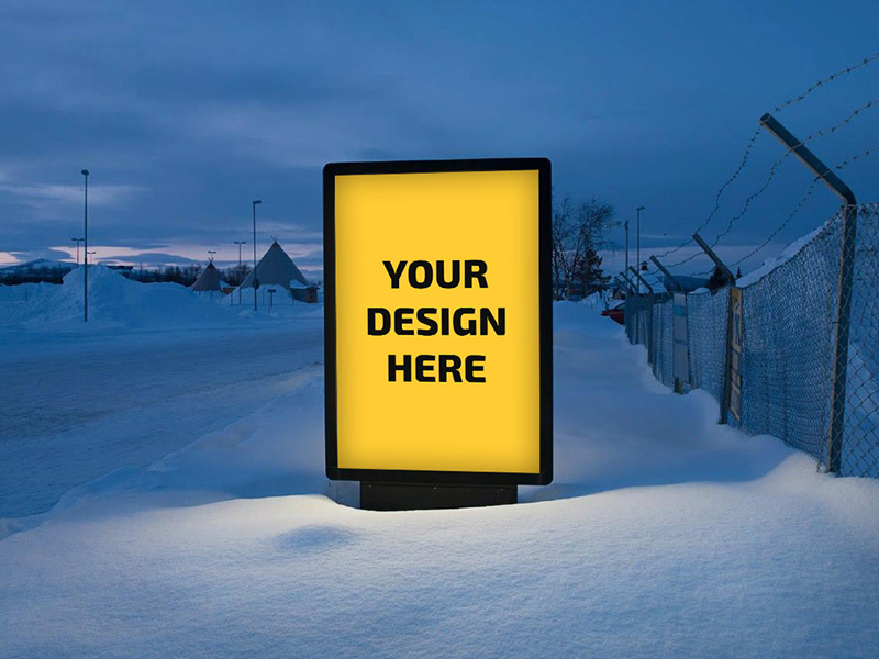 Outdoor Billboard Advertising Mockup Free PSD