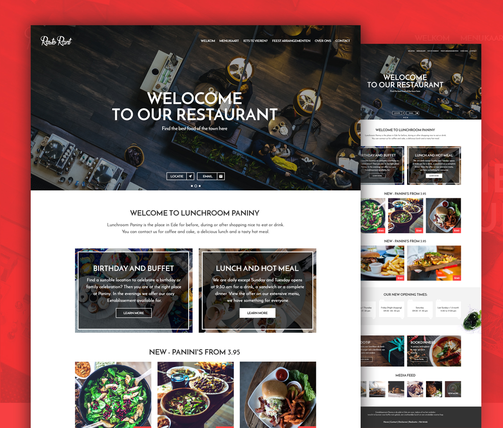 Restaurant Website Template PSD