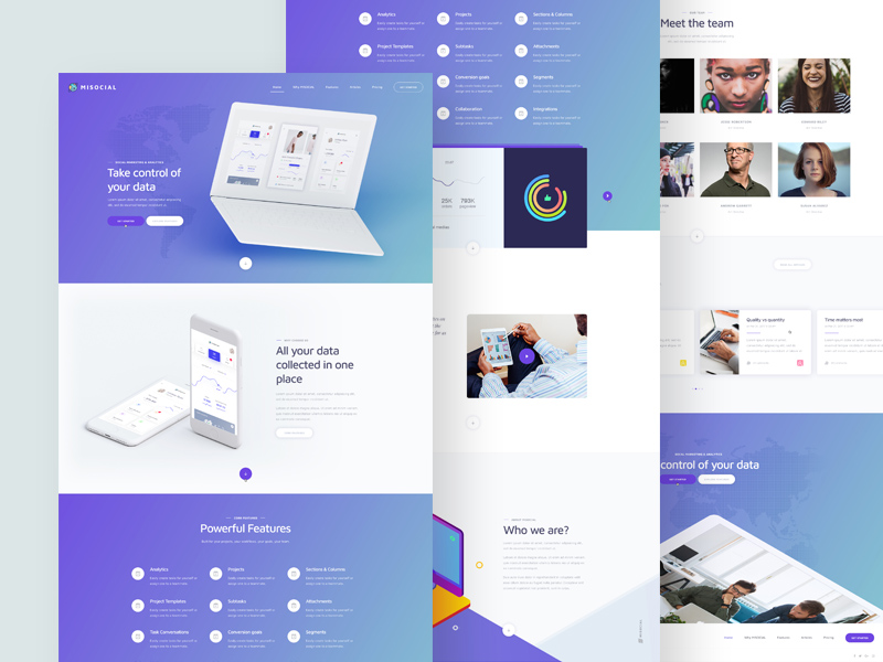 Data Analytics Services Website Template PSD