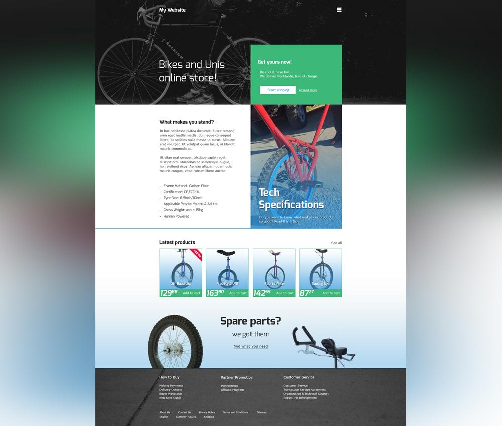 Online Bike Store Website Template Free PSD