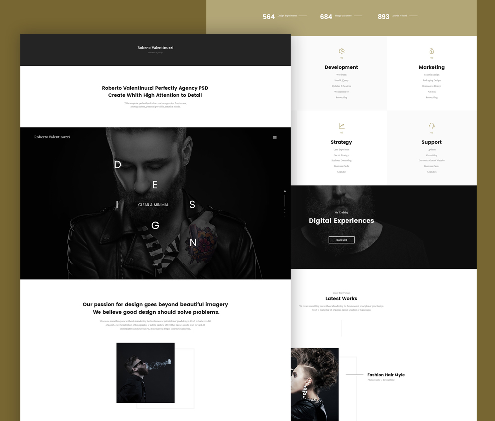 Portfolio Template PSD For Creative Agencies Download Download PSD - Digital portfolio template