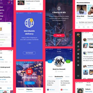 Stylish Mobile app UI Kit Free PSD