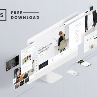 Website Elements Perspective Mockup Free PSD