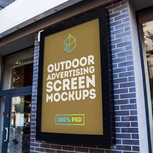 Outdoor Advertising Billboard Screen Mockup Free PSD