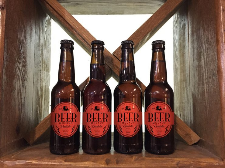 Beer Bottle Label Mockup Free PSD
