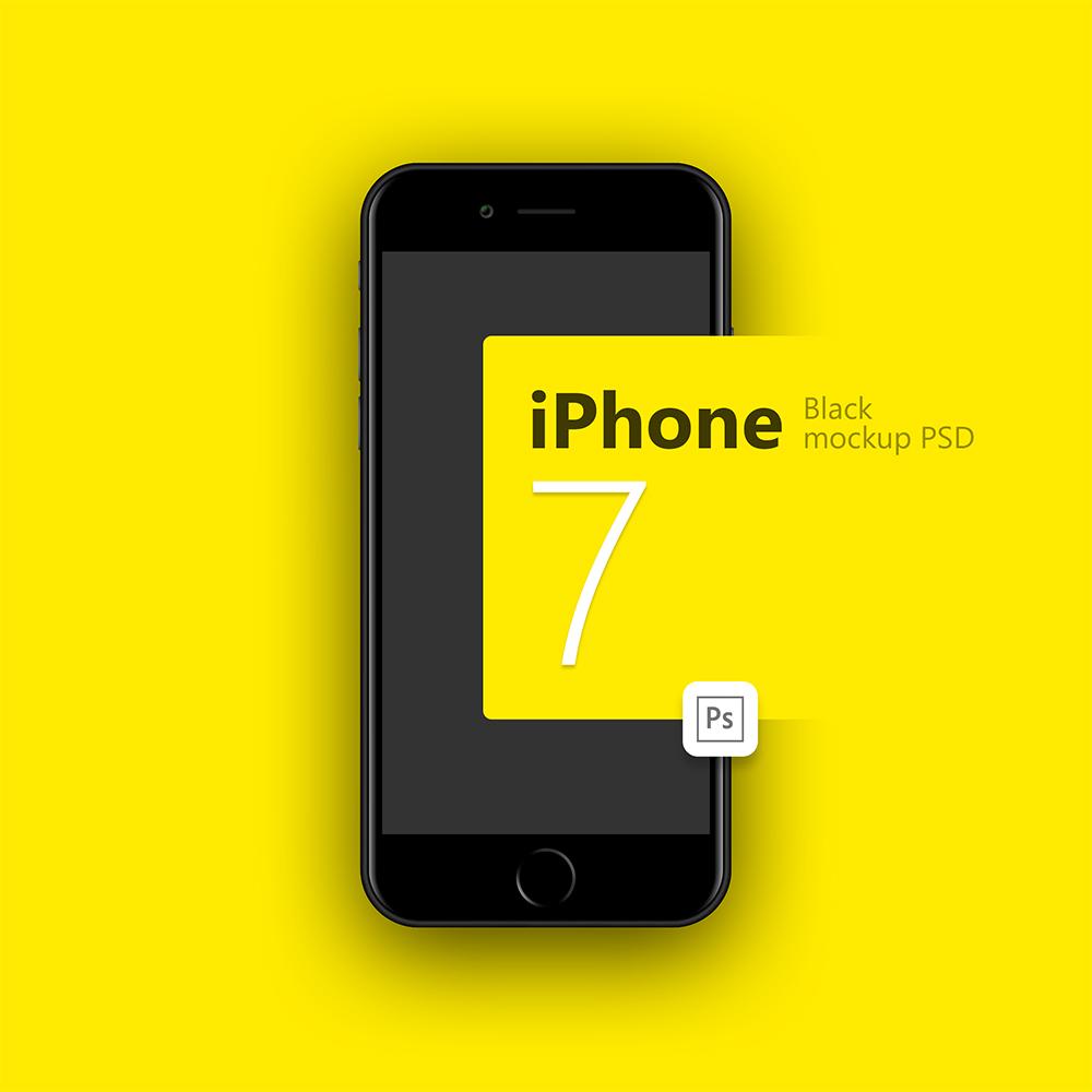 IPhone 7 Black Mockup Free PSD