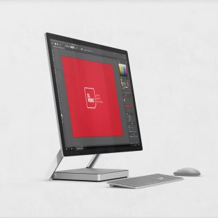 Microsoft Surface Studio Side View Mockup Free PSD
