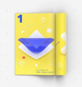 Folded Magazine Mockup Free PSD