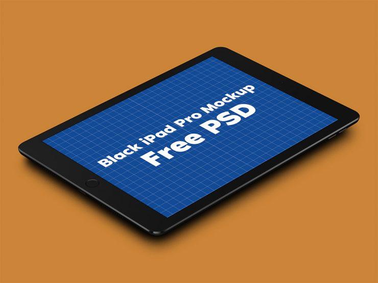 Black iPad Pro Mockup Free PSD