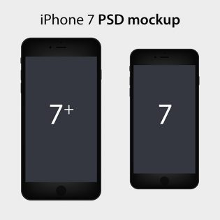 Flat iPhone 7 PSD Mockup