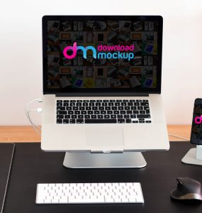 Macbook Pro and iPhone Mockup Free PSD