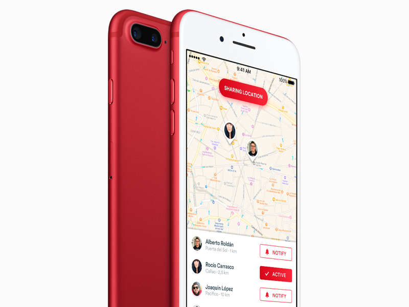 Red IPhone 7 Plus Mockup Free PSD