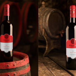 Red Wine Bottle Mockup Free PSD