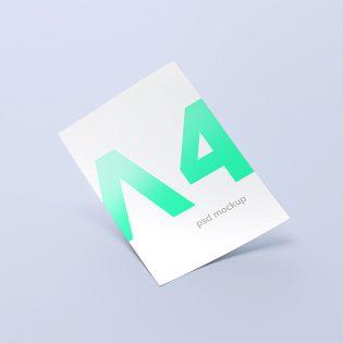 A4 Paper Free PSD Mockup
