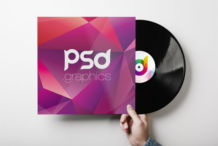 Vinyl Record Cover Mockup PSD Template