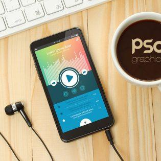 Music App Smartphone Mockup PSD