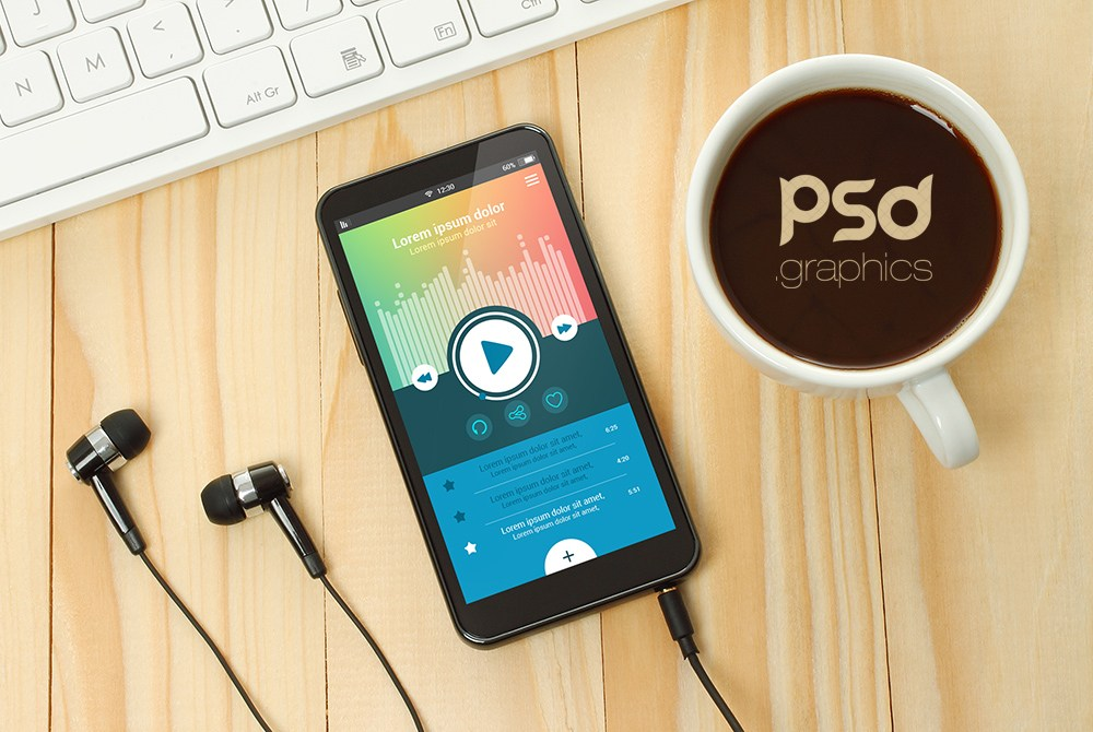 Music App Smartphone Mockup PSD - Download PSD