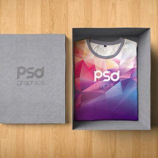 T-Shirt Box Packaging Mockup Free PSD