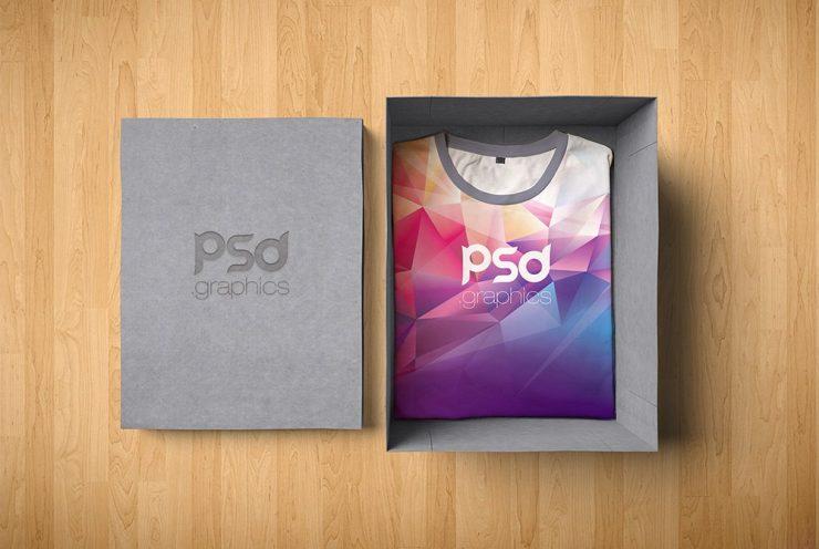 T-Shirt Box Packaging Mockup Free PSD