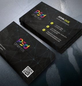 Black Business Card Template Free PSD
