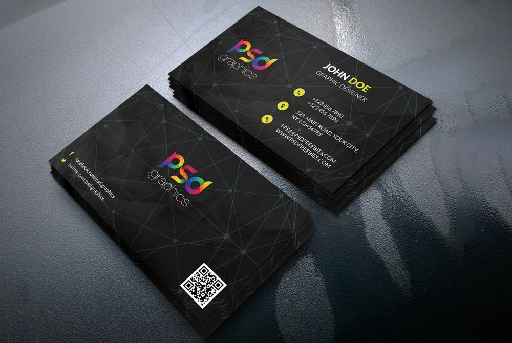 Black business card template free psd download download psd black business card template free psd accmission Images