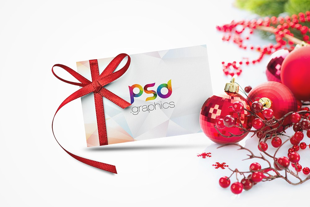 Christmas Gift Card Mockup Free PSD Download - Download PSD