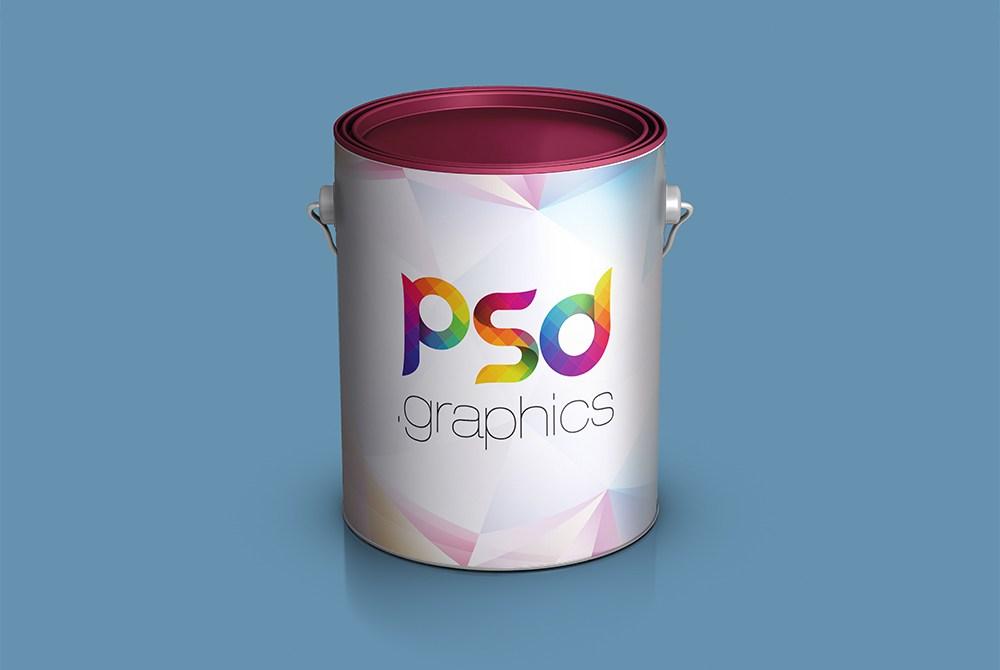 Paint Bucket Mockup Free PSD