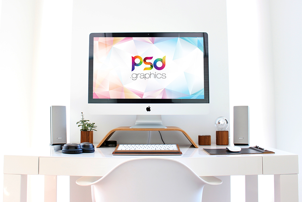 iMac Workspace Mockup Free PSD