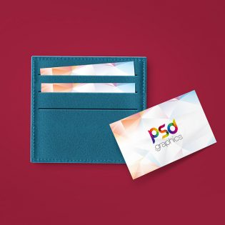 Business Card in Wallet Mockup Free PSD