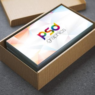Business Card in Cardboard Box Mockup Free PSD
