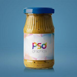 Mustard Jar Mockup Free PSD