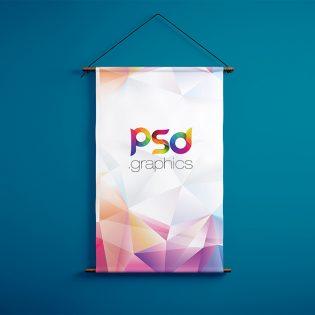 Wall Hanging Banner Mockup Free PSD