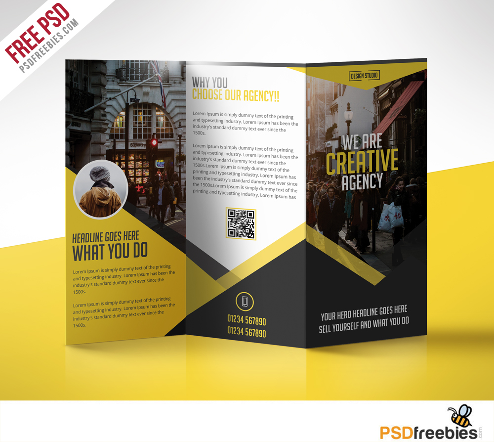 Multipurpose trifold business brochure free psd template for Free template brochure design