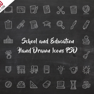 School and Education Hand Drawn Icons PSD