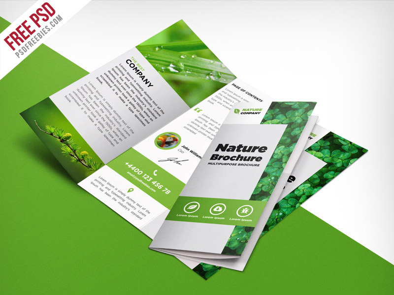 Nature tri fold brochure template free psd download for Simple tri fold brochure template
