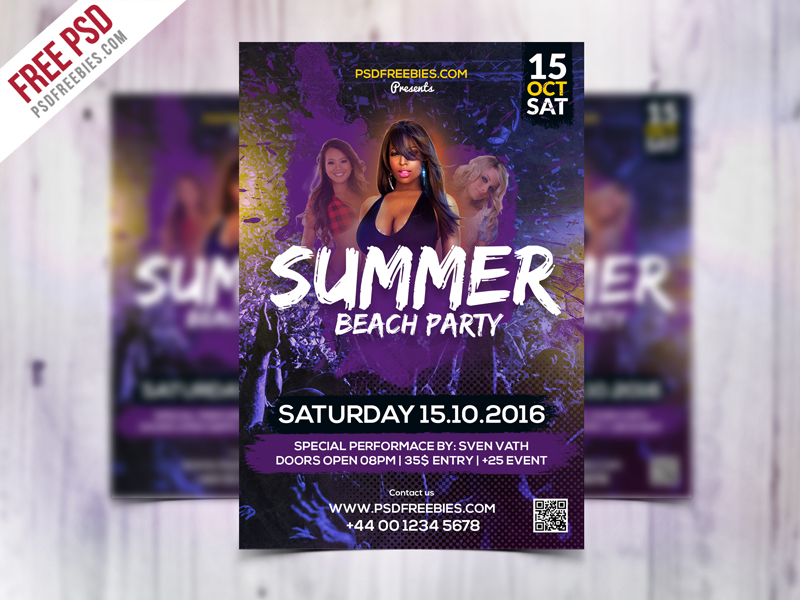 summer beach party flyer template free psd download download psd