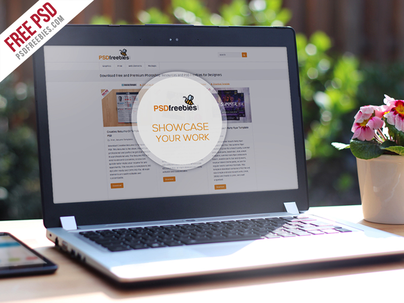 Realistic Laptop Mockup Template Free PSD