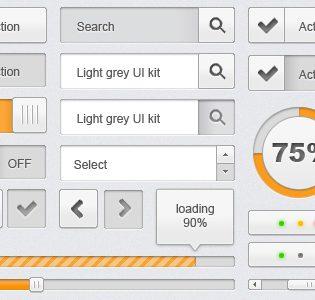 Light Grey UI Kit Free PSD