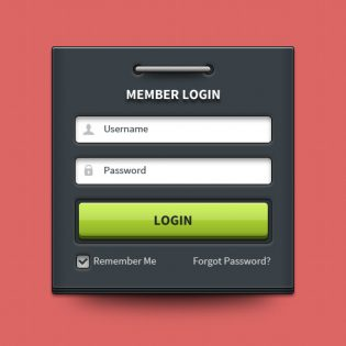 Member login form UI element PSD