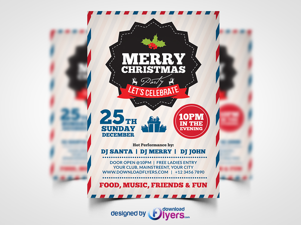 Christmas Party Flyer Template.Merry Christmas Party Flyer Template Psd Download Psd