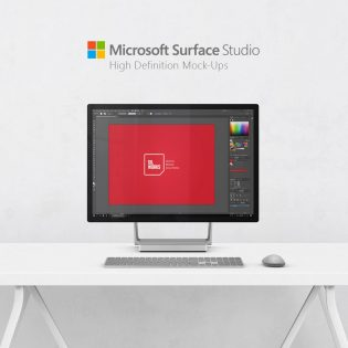 Microsoft Surface Studio on Desk Mockup Free PSD