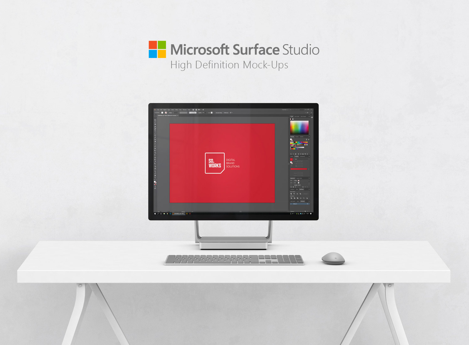 Download Microsoft Surface Studio on Desk Mockup Free PSD