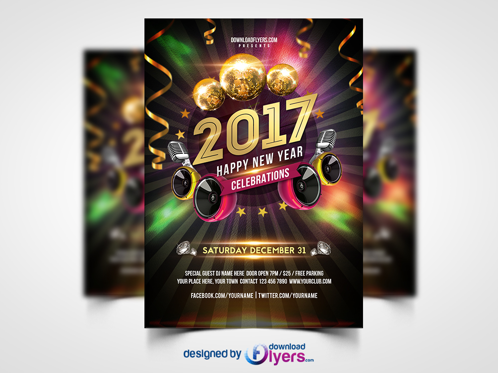 New Year 2017 Party Flyer Free PSD
