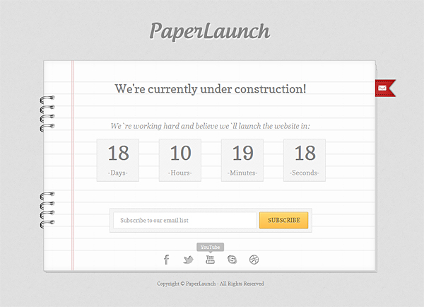 PaperLaunch Free Under Construction Template PSD