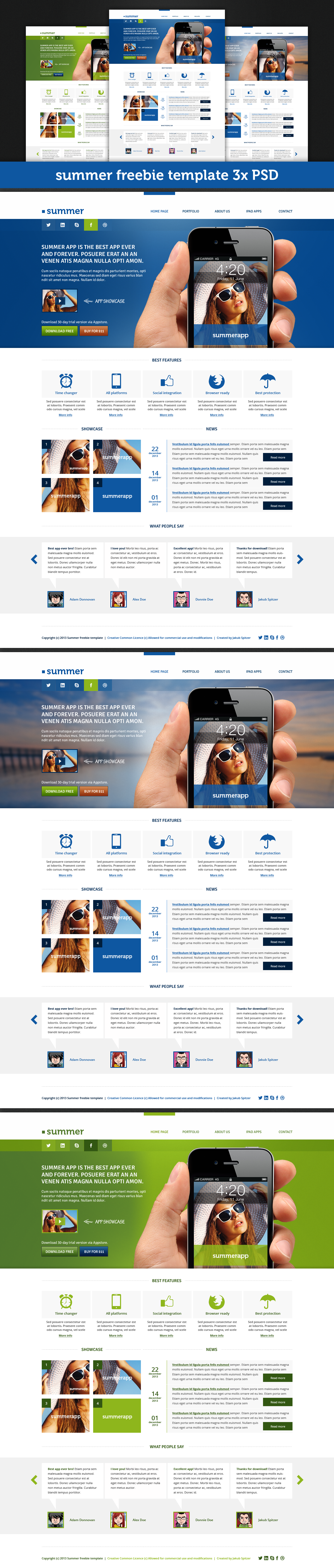 Summer Template Free PSD File