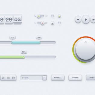 White Clean UI Kit PSD file